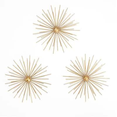 9.5 in. x 27 in. Cabers Metallic Gold Starbursts Metal Wall Art