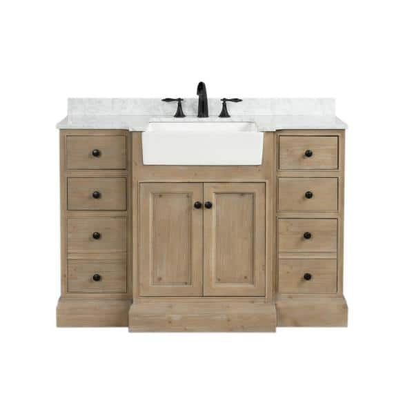 Ari Kitchen And Bath Kelly 48 In Single Bath Vanity In Weathered Fir With Marble Vanity Top In Carrara White With White Farmhouse Basin Akb Kelly 48 Weathfir The Home Depot