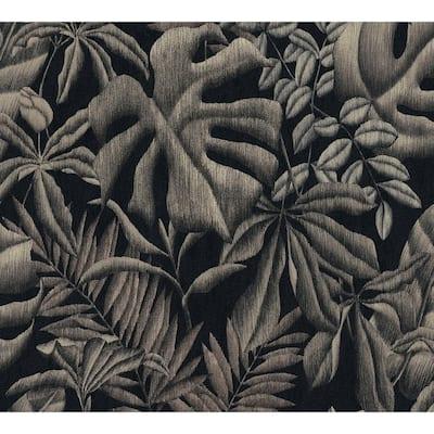 Strippable Sapo Grey Tropical Foliage Wallpaper