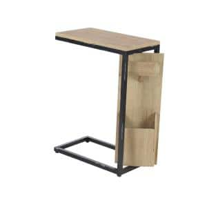 Brown C-Shaped Multipurpose Side Table with Black Accents