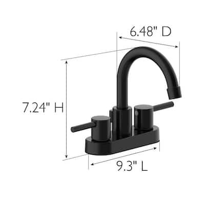 Eastport II 4 in. Centerset 2-Handle Bathroom Faucet in Matte Black