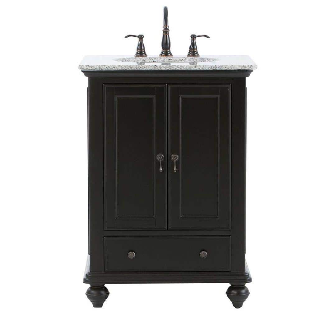 Home Decorators Collection Newport 25 In W X 21 1 2 In D Bath Vanity In Black With Granite Vanity Top In Gray 9085 Vs25h Bk The Home Depot