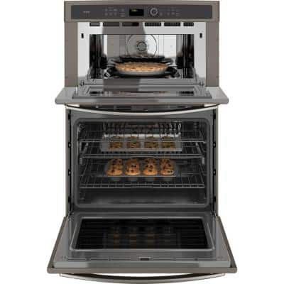 Profile 30 in. Double Electric Wall Oven with Convection Self-Cleaning and Built-In Microwave in Slate