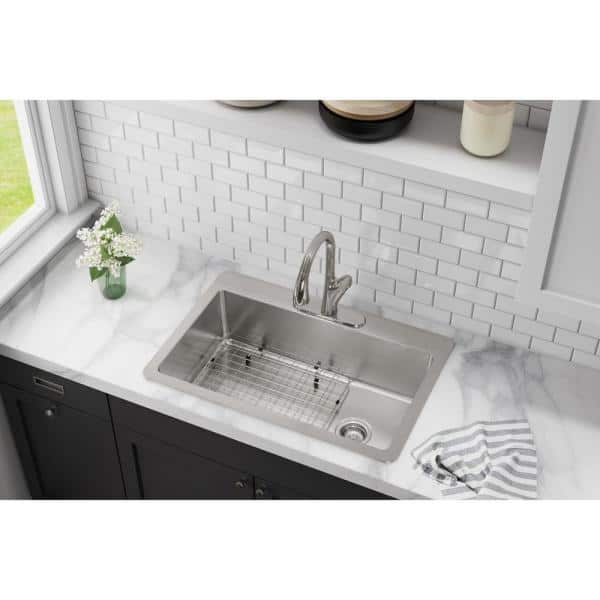 Elkay Avenue Drop In Undermount Stainless Steel 33 In Single Bowl Kitchen Sink With Bottom Grid Hddsb33229tr3 The Home Depot