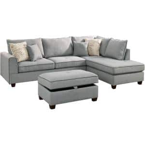 Siena Light Gray Fabric 6-Seater L-Shaped Sectional Sofa with Ottoman