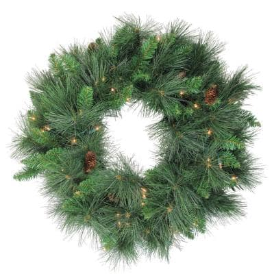 24 in. Pre-Lit White Valley Pine Artificial Christmas Wreath with Clear Lights