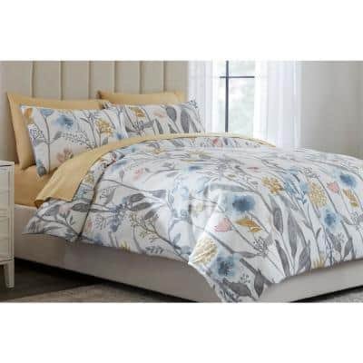 Purcell 2-Piece Washed Denim Botanical Twin Duvet Cover Set