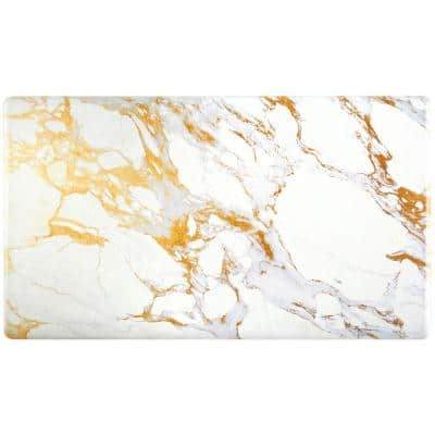 Christian Siriano Cook N Comfort Marble Gold 20 in. x 36 in. Kitchen Mat