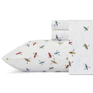 Kayaks 4-Piece White and Multi-Colored Graphic 200-Thread Count Cotton Percale King Sheet Set