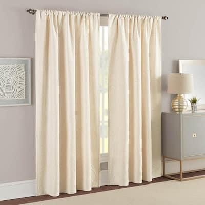 Ivory Solid Rod Pocket Room Darkening Curtain - 50 in. W x 84 in. L  (Set of 2)