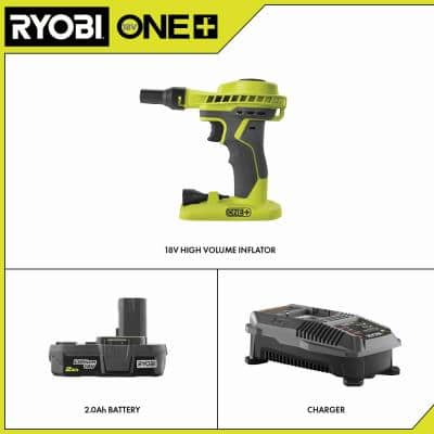ONE+ 18V Cordless High Volume Power Inflator with ONE+ 18V Lithium-Ion 2.0 Ah Battery and Charger Upgrade Kit