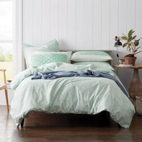 The Company Store Kirby Leaf Mint Cotton Percale Full Duvet Cover 50562d F Mint The Home Depot