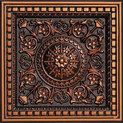 Da Vinci 2 ft. x 2 ft. PVC Lay-in Ceiling Tile in Antique Copper