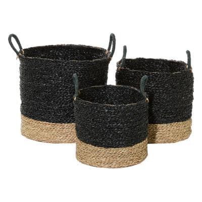 Black And Natural Woven Round Seagrass Baskets With Handles, Set Of 3: 14in , 16in , 18in