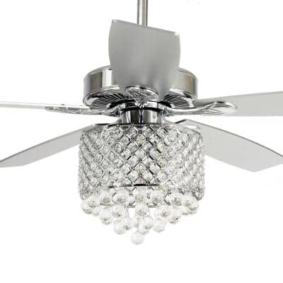 Deido 52 in. Indoor Chrome Downrod Mount Crystal Chandelier Ceiling Fan With Light and Remote Control
