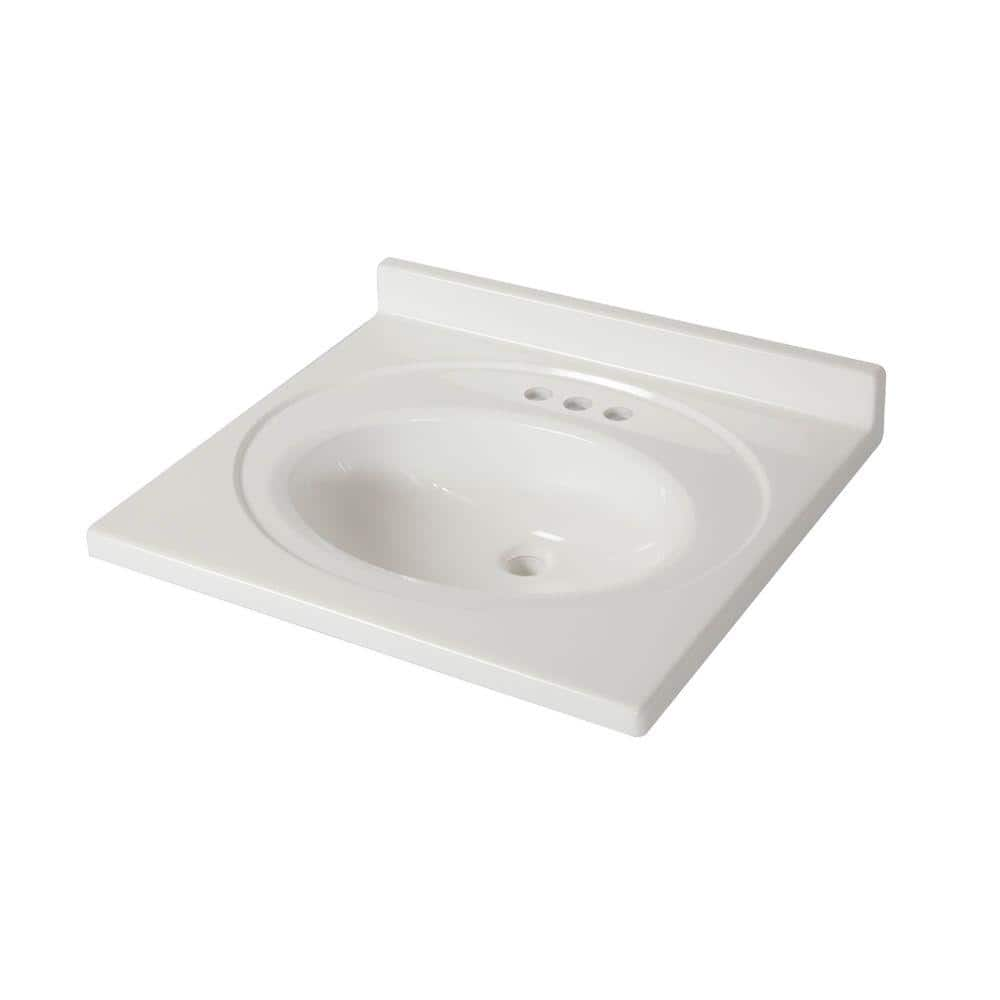 St Paul 25 In X 22 In Cultured Marble Vanity Top In White With White Sink Abi2522com Wh The Home Depot