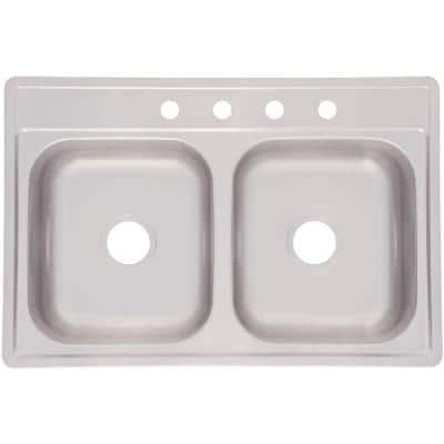 Drop-In Stainless Steel 33 in. 4-Hole 21-Gauge Double Bowl Kitchen Sink