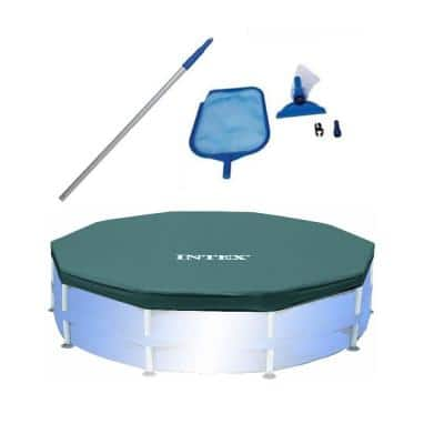 Swimming Pool Maintenance Kit with Vacuum and Pole and 10 ft. Round Pool Cover