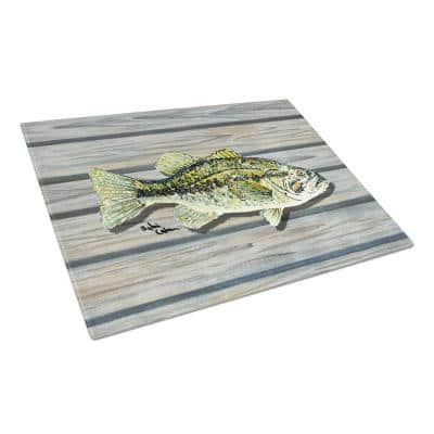 Small Mouth Bass on the Wharf Tempered Glass Cutting Board