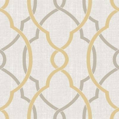 30.75 sq. ft. Sausalito Taupe/Yellow Peel and Stick Vinyl Wallpaper