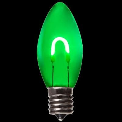 FlexFilament C9 LED Shatterproof Green Vintage Edison Christmas Light Bulbs (5-Pack)
