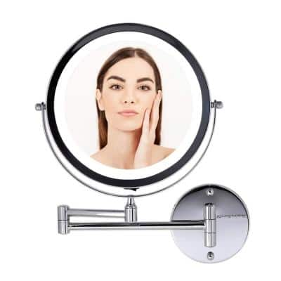 13.2 in. H x 1.6 in. W, Small Round Polished Chrome Lighted Framed Modern Vanity Mirror, 1x 7x Magnification