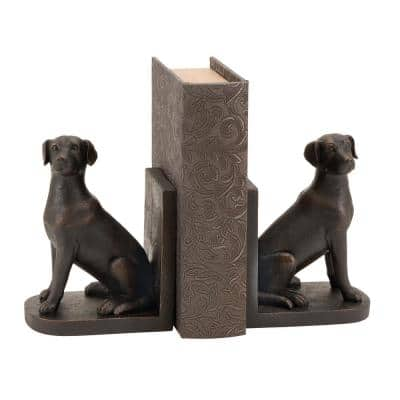 8 in. x 6 in. Dark Brown Sitting Dog Bookends
