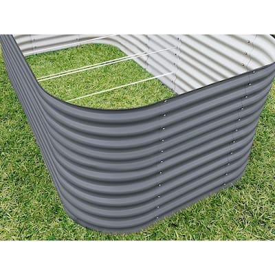 32 in. Extra-Tall 10-In-1 Modular Modern Gray Metal Raised Garden Bed Kit