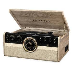 6-in-1 Empire Mid Century Modern Bluetooth Record Player with 3-Speed Turntable, CD, Cassette Player and Radio