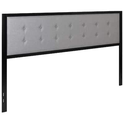 Bristol Metal Tufted Upholstered King Size Headboard in Dark Gray Fabric