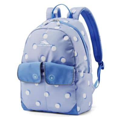Chiqui Backpack, Purple with Tablet Sleeve and Accessory Pocket, Polka Dots