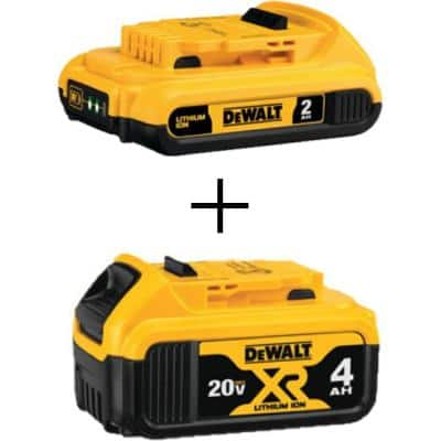 20-Volt MAX Compact Lithium-Ion 2.0 Ah Battery Pack and 20-Volt MAX XR Lithium-Ion Battery Pack 4.0 Ah