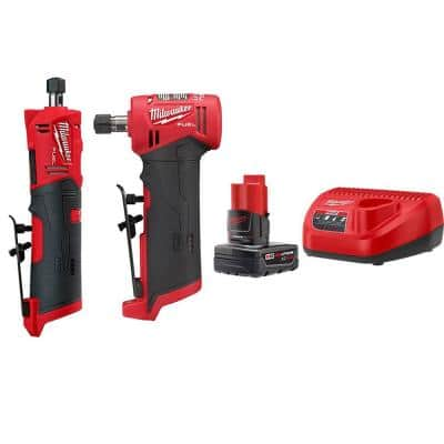 M12 FUEL 12-Volt Lithium-Ion Brushless Cordless 1/4 in. Straight & Right Angle Die Grinder Kit with Battery & Charger