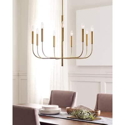 ED Ellen DeGeneres Brianna 9-Light Burnished Brass Minimalist Modern Hanging Candlestick Chandelier with Swivel Canopy