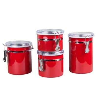 Set of 4-Pieces Red Stainless Steel Canister Storage Container with Air Tight Lid and Locking Clamp