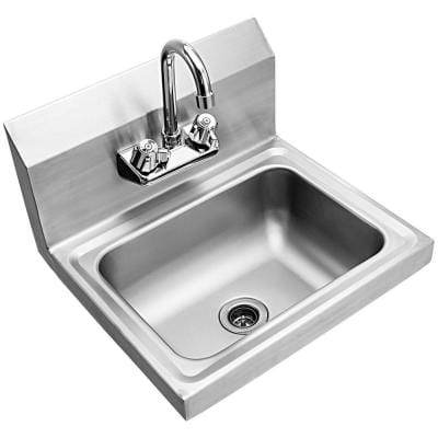 17 in. Wall Mount Stainless Steel 1-Compartment Commercial Hand Wash Sink with Faucet