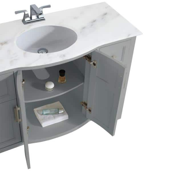 Simpli Home Winston 48 In Rounded Front Bath Vanity In Warm Grey With Marble Extra Thick Vanity Top In Bombay White With Basin Axcvwnrg 48 The Home Depot