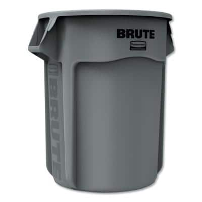 Brute 55 Gal. Gray Plastic Round Trash Can