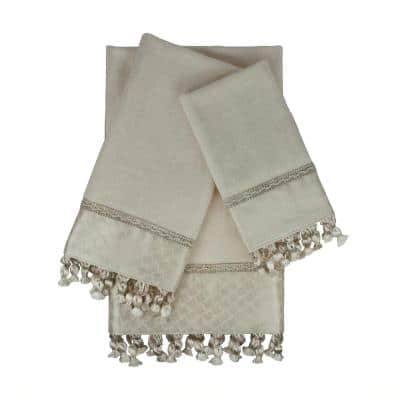 Rochdale 3-Piece Ecru Geometric Bath Towel Set