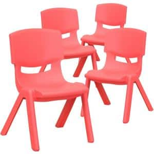 4-Pack Red Plastic Stackable School Chair with 10.5 in. Seat Height