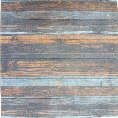 Falkirk Jura III 1/4 in. x 28 in. x 28 in. Peel & Stick Grey Blue Faux Wood PE Foam Decorative Wall Paneling (10-Pack)