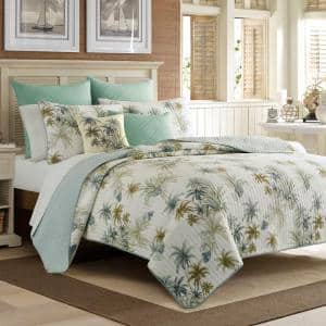 Serenity Palms 1-Piece Aqua Blue Cotton Twin Quilt