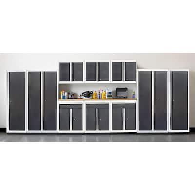 75 in. H x 210 in. W x 18 in. D Welded Steel Garage Cabinet Set in White/Charcoal (11-Piece)