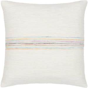 Ziad 18 in. x 18 in. Rainbow Striped Down Standard Throw Pillow