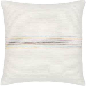 Ziad 20 in. x 20 in. Rainbow Striped Down Standard Throw Pillow