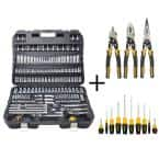 Chrome Vanadium Mechanics Tool Set (192-Piece) with Plier Set (3-Piece) and Screwdriver Set (10-Piece)