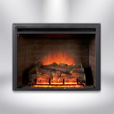 32 in. LED Electric Fireplace Insert in Black Matt