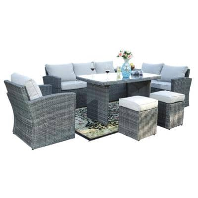 Liza Grey Aluminum 7-Piece Wicker Outdoor Sofa Set with Beige Cushions and Ottomans