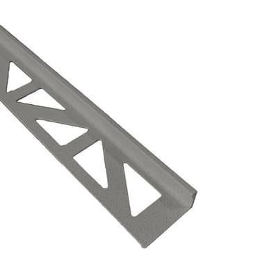 Durosol Profile 3/8 in. L Angle Textured Light Anthracite Metal Tile Edge Trim