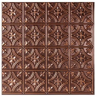 Valencia 2 ft. x 2 ft. Glue Up Vinyl Ceiling Tile in Antique Copper (48 sq. ft./case)